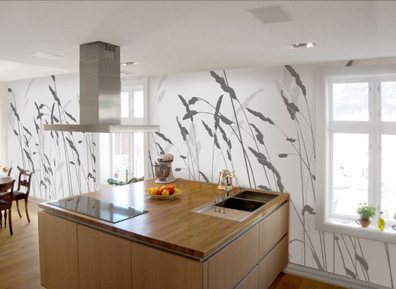 Kitchen Wall Mural Ideas Modern Scandinavian Interior Design With Nice