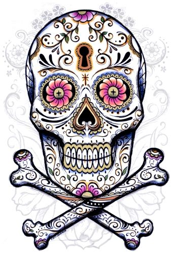 Tete de mort mexicaine tattoo brico pinterest cl s squelettes et tatouages - Tattoo crane mexicain ...