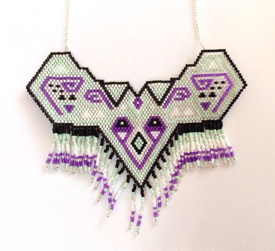Handmade necklace in beads mint, purple and black