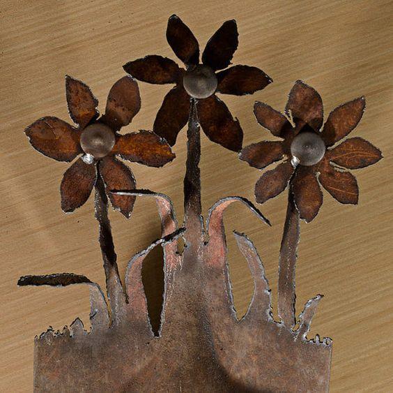 Fait à ordre - main (plasma) coupé pelle avec fleurs de jardin design