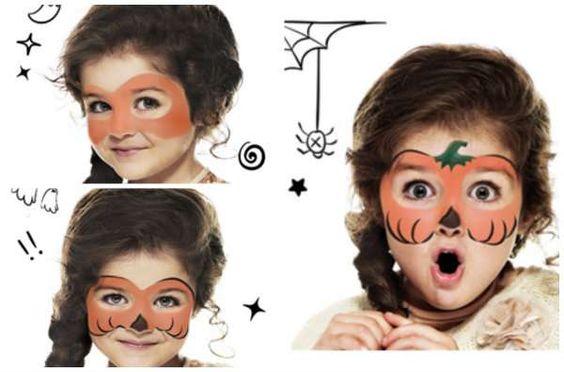 Maquillage pour enfant citrouille d'Halloween. 18 idées de maquillages rigolos pour enfants