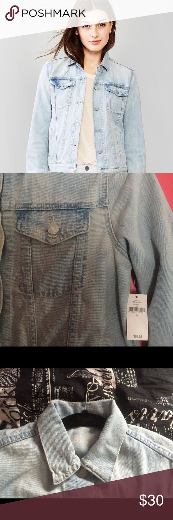 GAP 1969 icon denim jacket Light indigo blue, tailored silhouette, hits at hips, lightly destructed/worn look. 100% cotton. NWT. GAP Jackets & Coats Jean Jackets