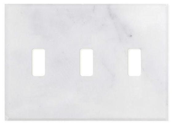 Italian Carrara White Marble Triple Toggle Switch Wall Plate Switch Plate Cover Polished Plates On Wall Switch Plate Covers Plate Covers