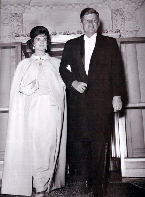 Jackie Kennedy commissioned this inaugural gown to be sewn by Bergdorf's Ethel Frankau. This peau d'ange and chiffon dress was based on sketches by Jackie and fashion editor Diana Vreeland.: