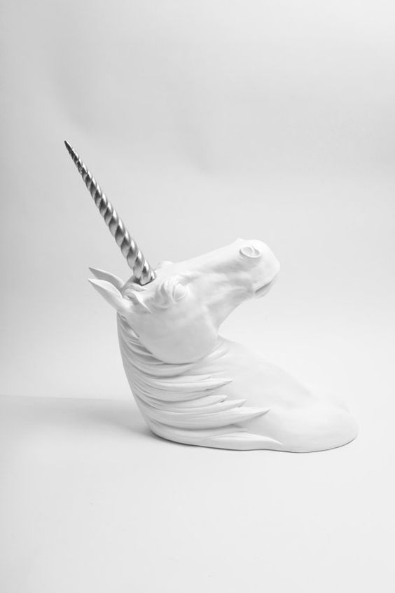 The Ivy XL White Unicorn Head W/ Silver by WhiteFauxTaxidermy