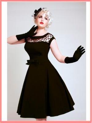 Bettie Page 50s Inspired Black Fishnet Top Alika Swing Dress-Vintage Style Dresses