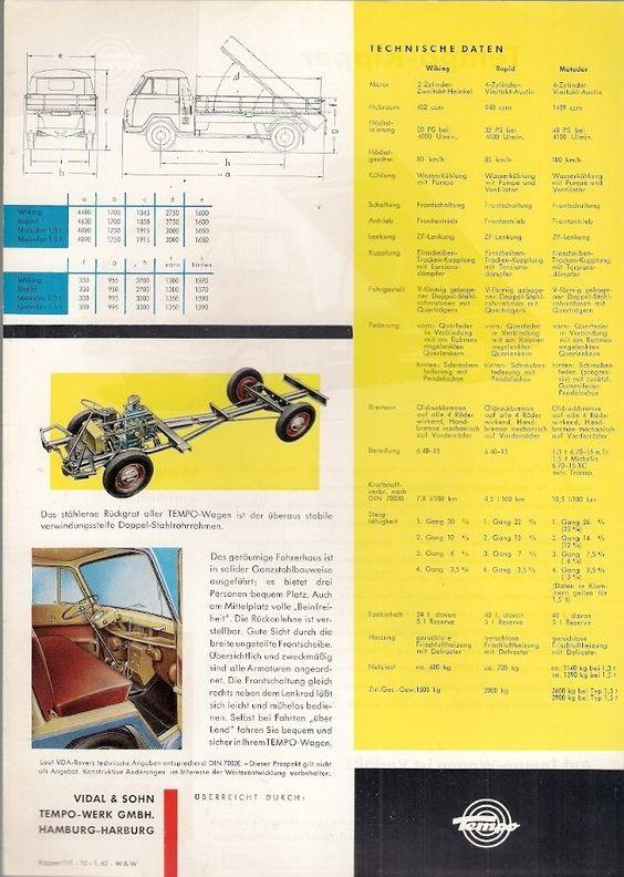 Tempo Matador Car Transporter 196465 UK Market Leaflet Sales – Sales Brochure
