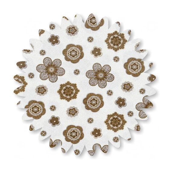 Tan Flowers on White Swirls Cotton Fabric 45-in Wide by the yard