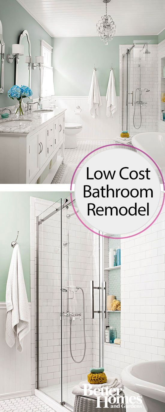 You Won 39 T Believe How Little This Bath Remodel Cost Rain Shower Shower Tiles And Vanities