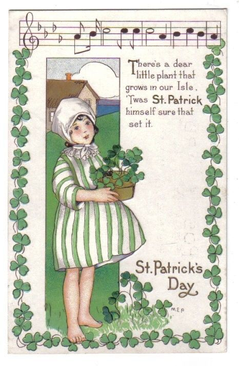 Irish Girl w/ Shamrocks w/ Musical & Shamrock Border~St Patricks Day~Series 403B #StPatricksDay