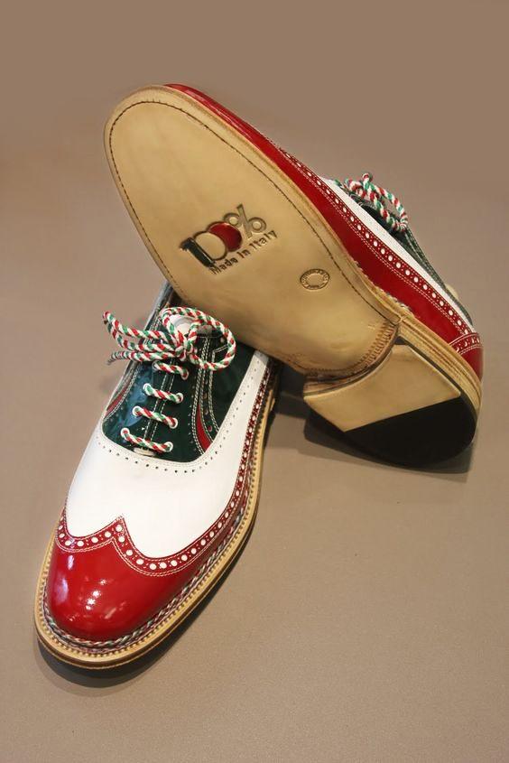 Scarpe tricolori , entirely hand made in Montegranaro (Italy