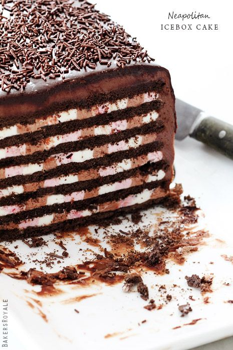 neapolitan icebox cake, I would love this in my belly right now!