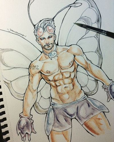 top voted for next Pokeman is Butterfree~ Next one on the list could be a Dark type or a Ground type, who could they be? :D have a great weekend! -Joe #pokemon #pokeman #butterfree #bug #sexy #muscle #anatomy #practice #fitness #art #drawing...