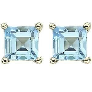 14K Yellow Gold Blue Topaz Princess Cut December Birthstone Stud Earrings