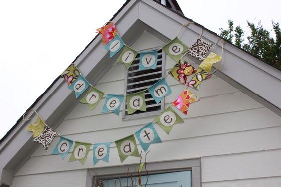 outdoor banner - on garage or roof peak over back porch.