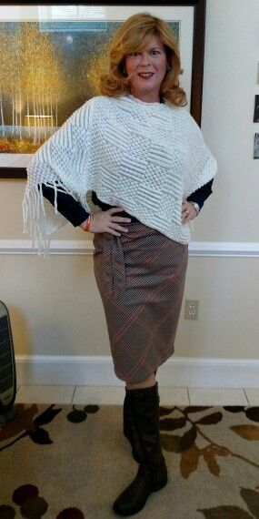 NY&Co skirt and top with white poncho sweater and brown riding boots. Ready for the late fall!