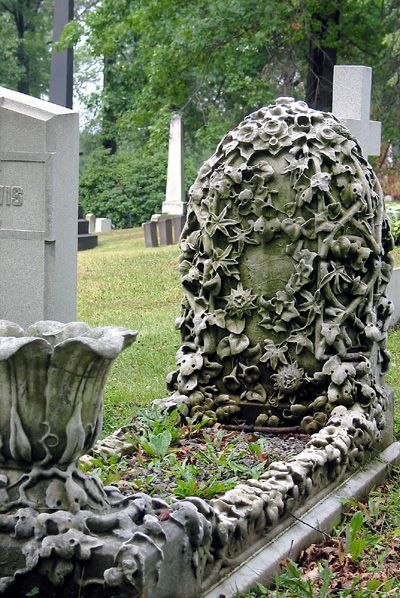 Ivy carved into a tombstone is said to represent friendship, fidelity and immortality.: