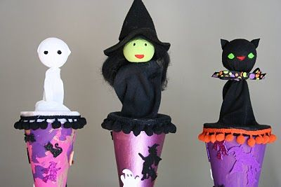 I bought a cone puppet for Josh at the Yellow Daisy Festival and I wanted to try and make some more myself. This is a great tutorial on how to make halloween themed puppets.