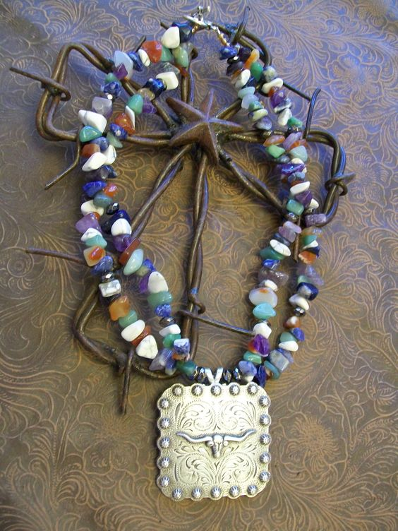 Longhorn steer beaded necklace with gorgeous medium chunk multi-colored beads. Goes great with just about anything! $45