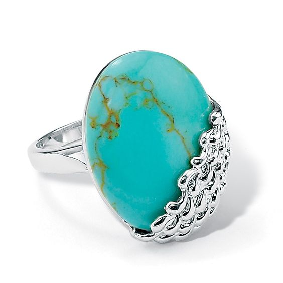 Oval-Shape Simuluated Turquoise Silvertone Metal Cocktail Cabochon Ring                                                 there