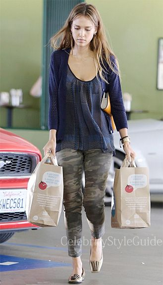Seen on Celebrity Style Guide: Jessica Alba wore a sheer patch Tank Top and Camo Charmer Capri Jeans in Safari while shopping at Whole Foods in Westwood September 23, 2013