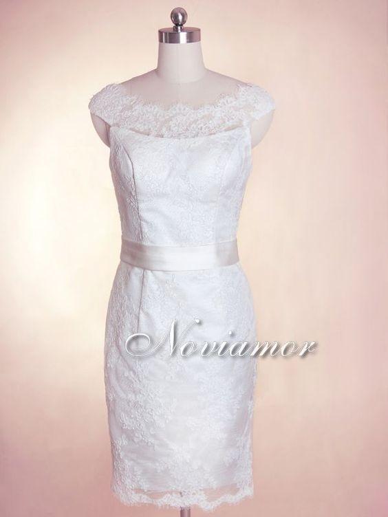 UK 2013 Elegant Sheer Neckline Short Sheath Lace Wedding Dress 7029 [7029]-Noviamor