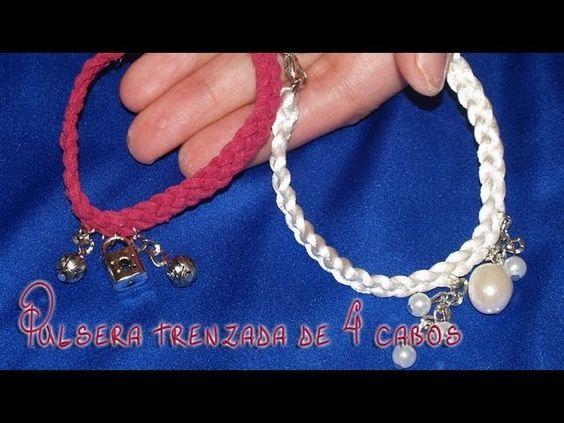 Pulsera de trenza de 4 cabos - DIY - Bracelet braid of 4 strands