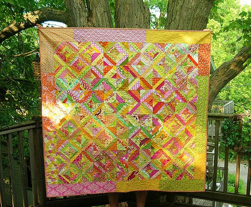 Orange and pink string quilt