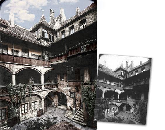 Nuremberg (Germany) Old City Courtyard in the Tucherstrasse 25, ca 1920s