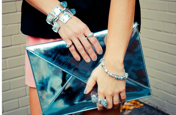 Silver + Pink + Beaded Nails - The Style Mogul
