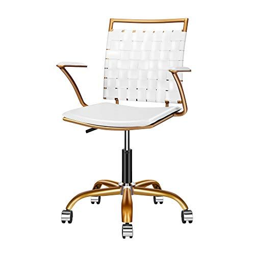 Luxmod White And Gold Desk Chair Adjustable Swivel Chair With