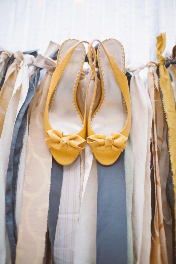 Mustard Yellow Bridal Shoes | Becky Ravenberg | TheKnot.com