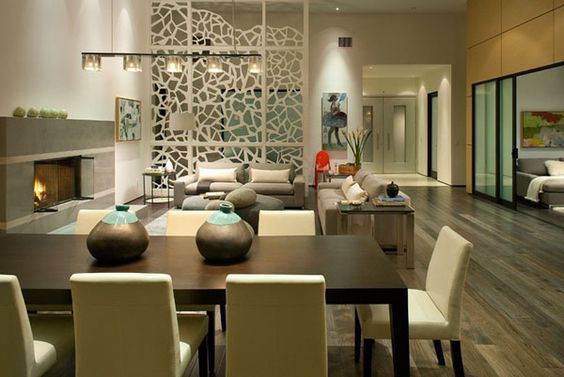 Stunning Wall Partition Designs With Pretentious Style: Impressive Design With Cool Wall And Stylish Sofa And Track Lighting Also Art Work With Modern Fireplace
