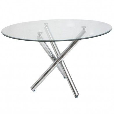 Table ronde en verre dining room pinterest metals and tables - Table ronde verre trempe ...