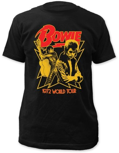 David Bowie 1972 World Tour Mens Premium Soft T-Shirt - Guaranteed Authentic.  Fast Shipping.