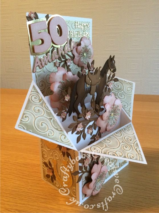 Large Pop Up Box Horse Themed 50th Birthay Card Made Using Various Dies Including Quickutz Wildflo Boxed Birthday Cards 60th Birthday Cards Exploding Box Card