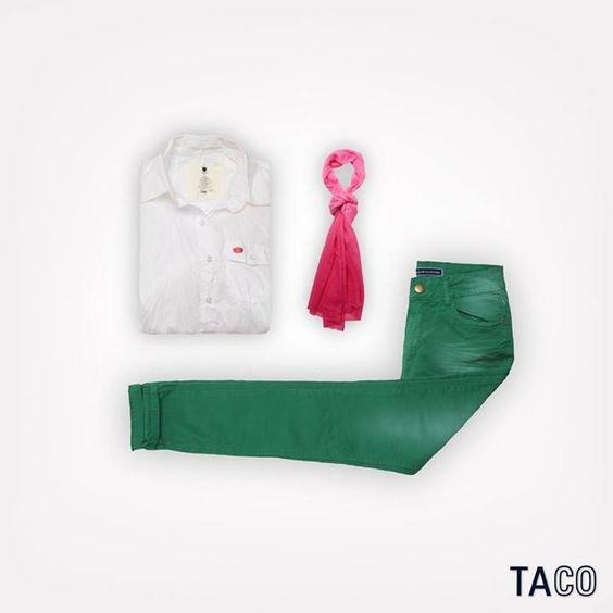 O dia hoje pede um look mais animado. A gente propõe uma camisa de tecido, lenço e calça color! O que acham?