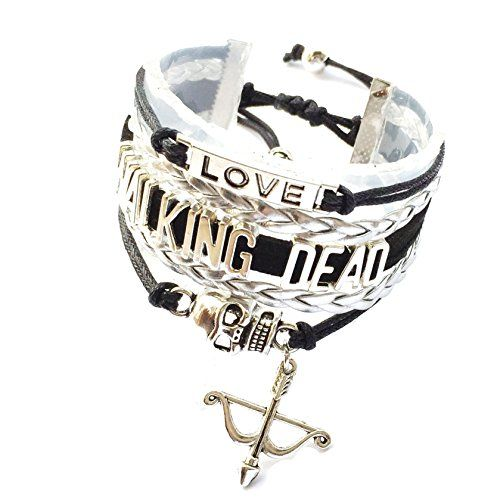 DOLON Cord Braided Skull Walking Dead Bracelet Cross Arrow Bow Charm Adjustable-5 Colors