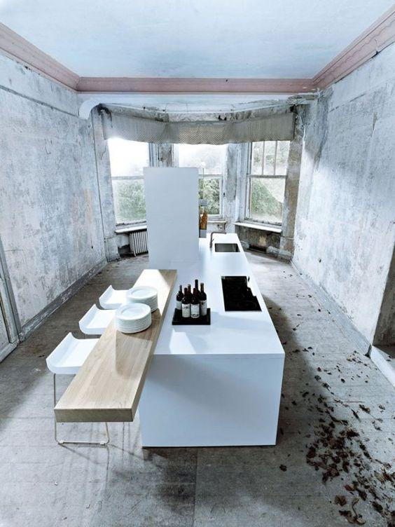 Cuisine moderne avec un bar pr l vement d - Vertbaudet cuisine en bois ...
