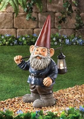Forest Gnome Garden Statue Figurine With Light Yard And Garden Decor