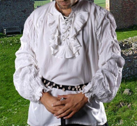 Pirate Shirt, White Shirt, Puffy Shirt, Renaissance Shirt, Pirate Costume, Dead Stock, Burning Man, Halloween Pirate, Poet Shirt, Size XL by BuffaloGalVintage on Etsy
