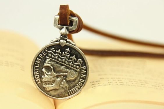 Vintage Skull Leather Strap Pendant Necklace,free shipping, looback,looback.com.$8.99