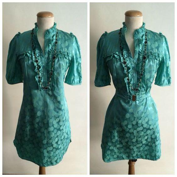 Green Printed Ruffles Shirt Dress on Carousell