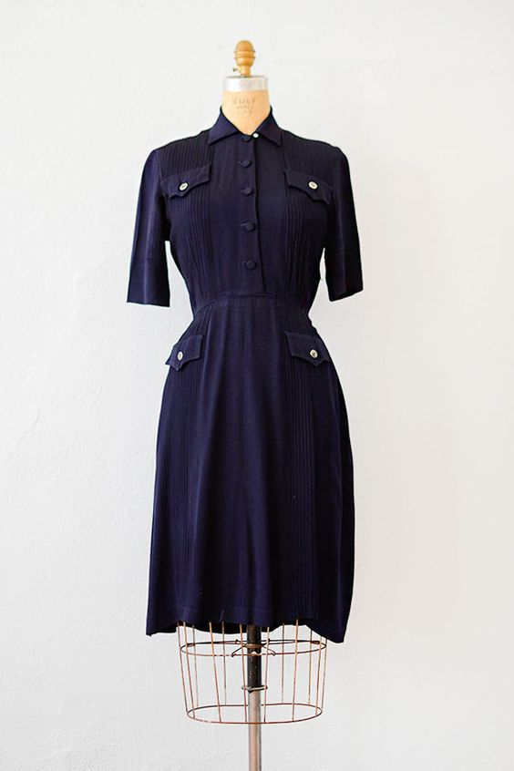vintage 1940s navy blue military pockets shirt dress [Home Front Letters Dress]