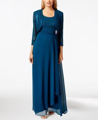 R&M Richards Sleeveless Sequin Lace Dress and Jacket - Dresses - Women - Macy's