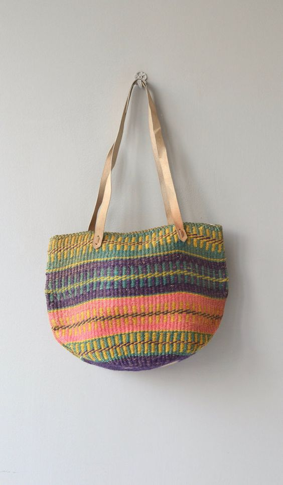 prada saffiano continental wallet black - Oaxaca sisal tote | vintage woven sisal bag | large sisal shoulder ...