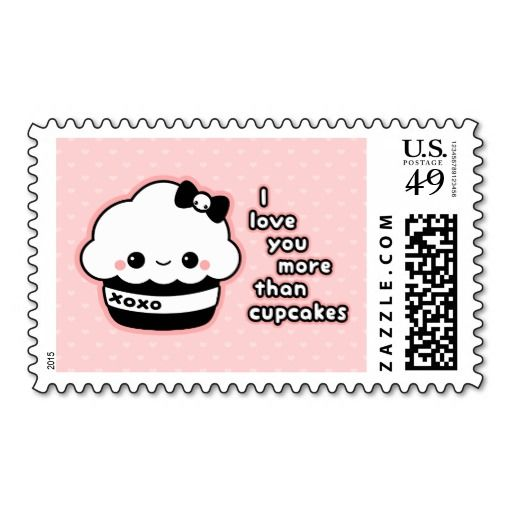 """Super cute pink and black """"I love you more than cupcakes"""" postage stamps."""