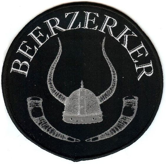 """""""Beerzerker"""" round viking helmet and drinking horns, high quality woven fabric patch for sewing onto garments, jackets, accessories or bags."""