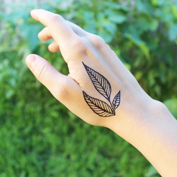 Triple Leaf Temporary Tattoo Black Line Ink Nature by NatureTats