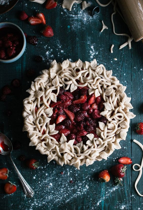 Triple Berry Pie with a Leaf & Vine Crust - The Kitchen McCabe